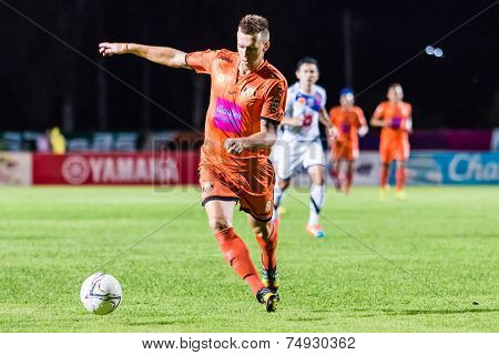 Sisaket Thailand-october 22: Brent Mcgrath Of Sisaket Fc. In Action During Thai Premier League Betwe