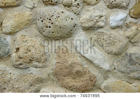 White Stone Wall With Random Tiled Pattern