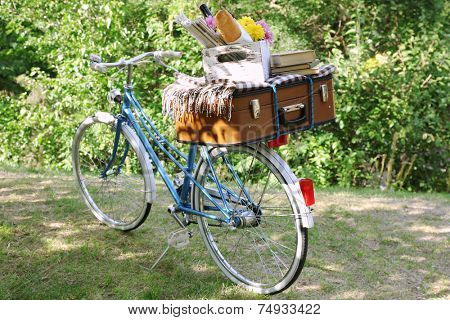 Bicycle and brown suitcase with picnic set on it in shadow in park