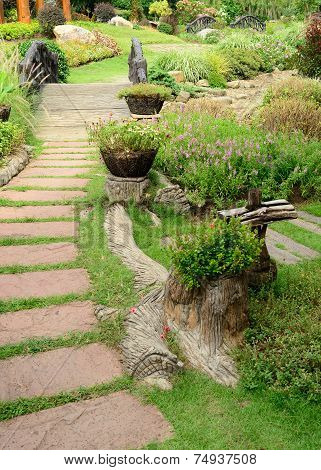 Pathway In The Garden, Beautiful Landscaping Of Gardening