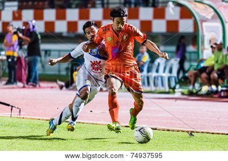 Sisaket Thailand-october 22: Terukazu Tanaka Of Sisaket Fc. In Action During Thai Premier League Bet