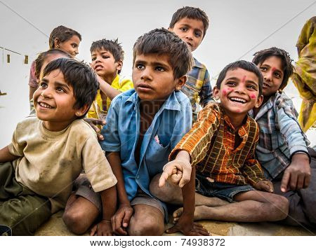 Indian Kids In The Jaisalmer Desert, Rajasthan, India