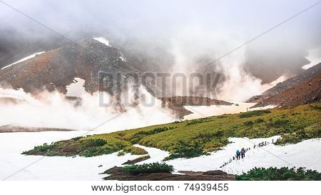 Trekking Trail On Snow Covered Volcano, Asahidake