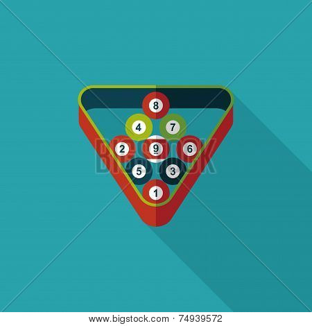 Billiards Flat Icon With Long Shadow,eps10