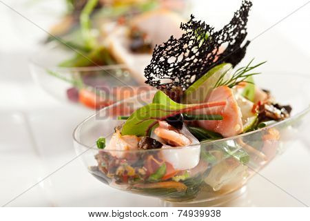 Buffet Seafood Salad on White Dish