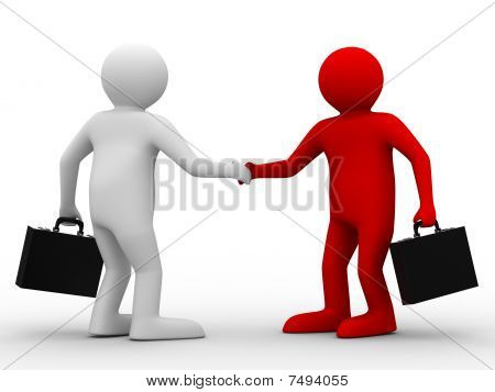 Handshake. Meeting Two Businessmen