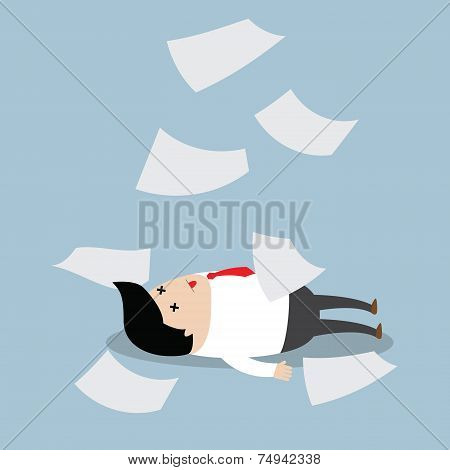 Businessman Working Hard Until Faint