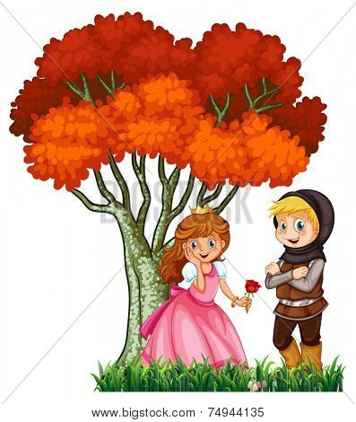 illustration of a couple in fairytale