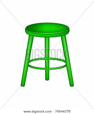 Retro stool in green design