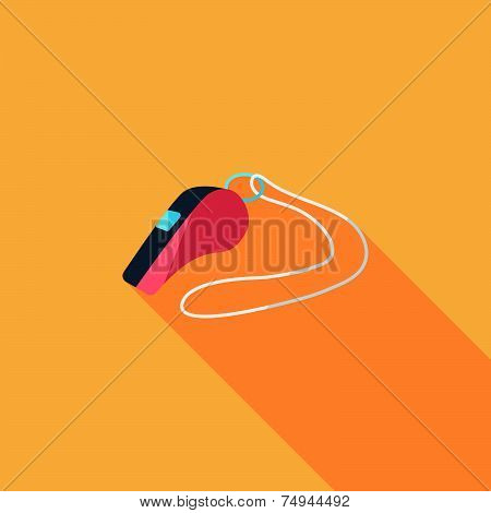 Whistle Flat Icon With Long Shadow,eps10