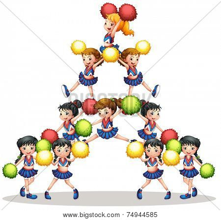 illustration of many cheerleaders