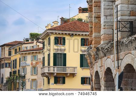 Urban Buildings Near The Arena Of Verona - The Place Of Annual Festival Operas In Verona, Italy