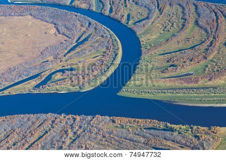 Top View Over The Forest River