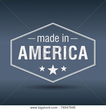 Made In America Hexagonal White Vintage Label