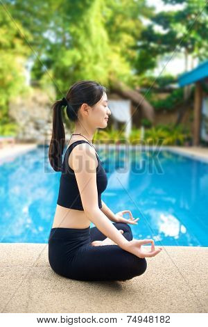 Asian Girl Meditating Yoga