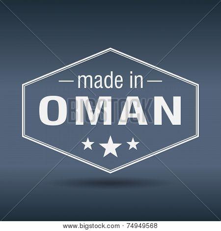 Made In Oman Hexagonal White Vintage Label