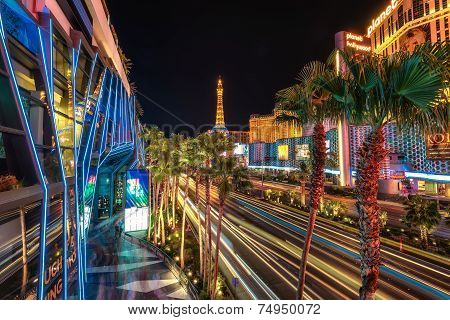 Las Vegas, NV - CIRCA JULY 2014 - Night illumination, casino on Las Vegas Strip, NV circa July 2014.