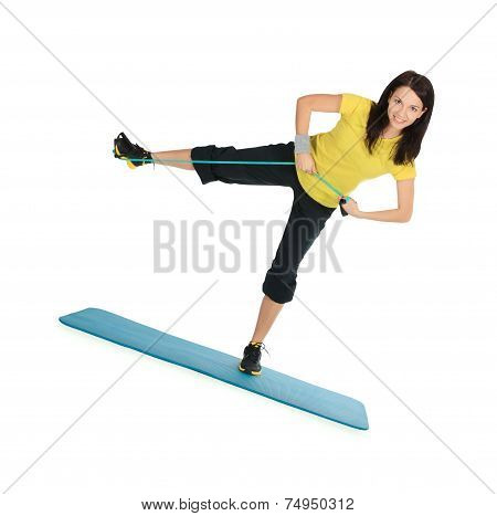 Cute Female With Expander In Stretching Fitness Exercise