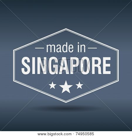 Made In Singapore Hexagonal White Vintage Label