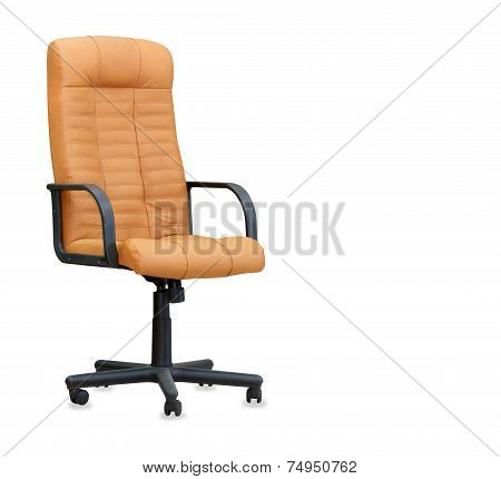 The Office Chair From Beige Leather Isolated