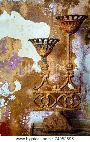 Old rusted candelabra