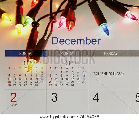 Christmas lights and December calendar