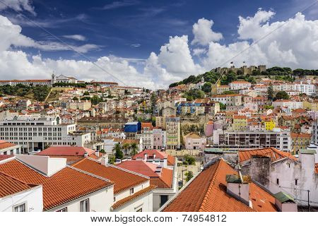 Lisbon, Portugal skyline at Sao Jorge Castle and Graca District.