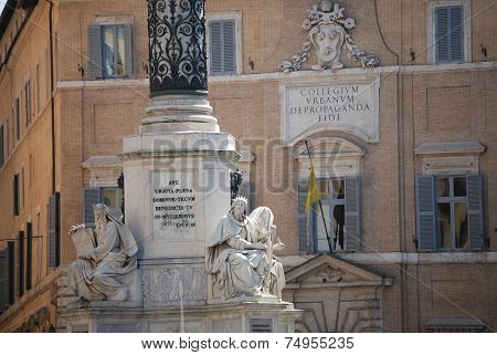 Rome - Biblical Statues at Base of Colonna dell'Imacolata