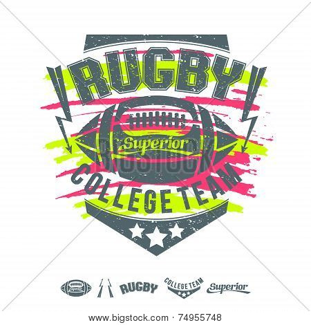 Rugby Emblem Girl's Print And Design Elements