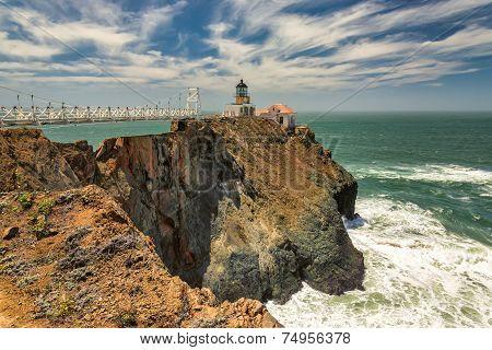 Bridge to Lighthouse on the rock, Point Bonita Lighthouse.