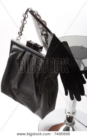 Black Leather Bag And Long Gloves