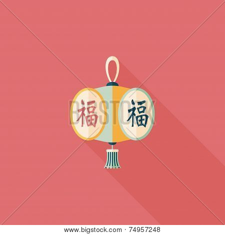 Chinese New Year Flat Icon With Long Shadow,eps10, Chinese Festival Lantern With Chinese Words Means