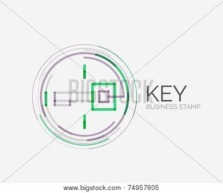 Minimal line design shopping stamps and symbols, futuristic style, key idea