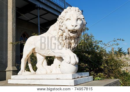 Marble Medici Lion With Ball Near Alupka Palace