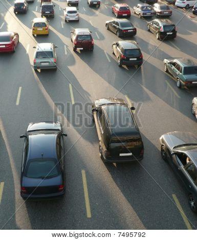 Traffic On Street Repair At Day