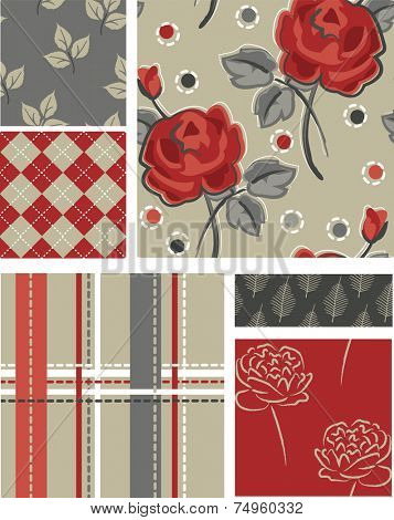 Winter Floral Vector Seamless Patterns. Use as fills, digital paper, or print off onto fabric to create unique items.