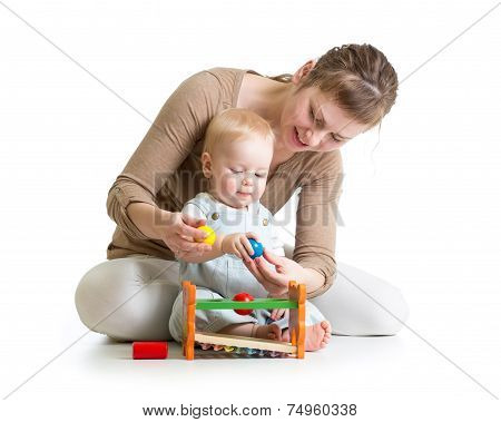 mom and play musical toy