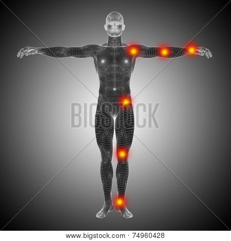 Concept or conceptual 3D human anatomy mesh or wireframe body with pain, ache or inflammation over a black and white background