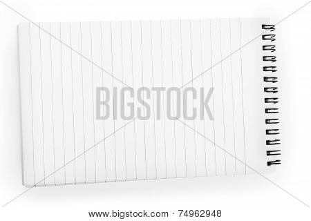 Open Notebook In A Line With A Spiral