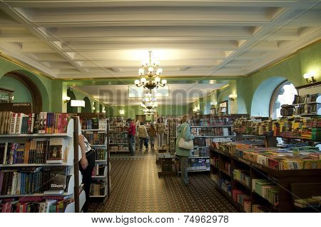 ST. PEPTERSBURG, RUSSIA - JULY 5, 2008: People in the Book House on the Nevsky avenue. The Book House opened in 1919 is the largest book shop of St. Petersburg, and one of the largest in Europe