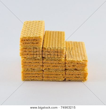 Seven Waffles on a white background