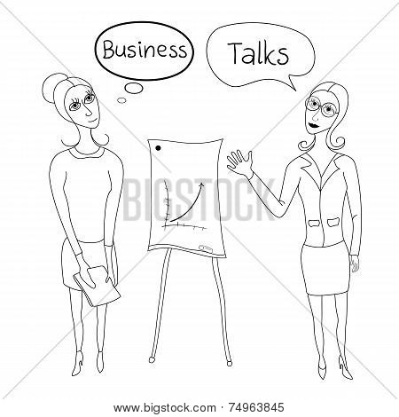 Business negotiations, business women in business suits standing beside presentation boards