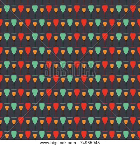Seamless Background Pattern With  Glasses