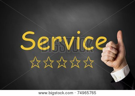 Thumbs Up Best Service Black Chalkboard Rating