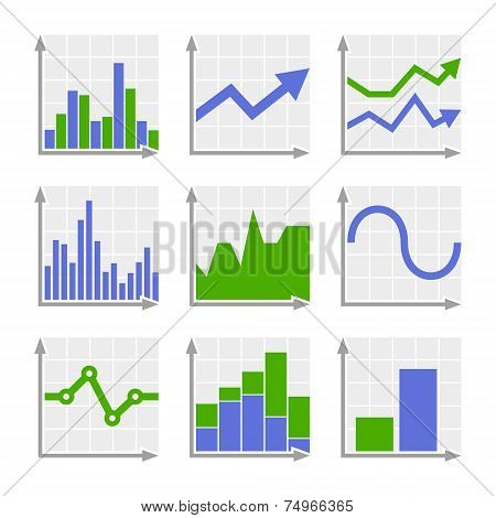 Business Infographic Colorful Charts and Diagrams. Blue ang Green Set
