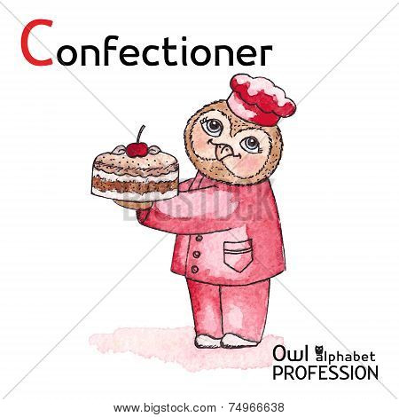 Alphabet professions Owl Letter C - Confectioner Vector Watercolor.