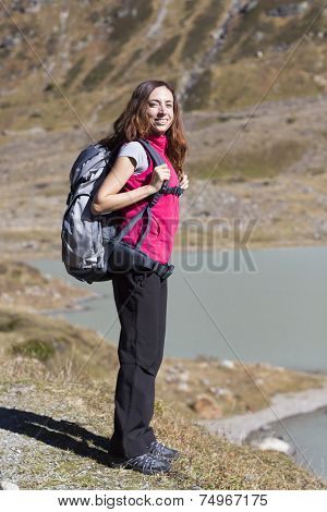Young Woman Hiker On The Alps