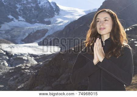 Woman Meditation In Nature On The Alps