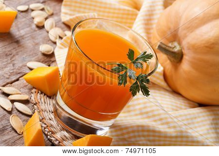 Pumpkin Juice With Pulp Close-up On A Table