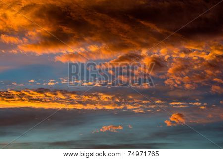 Sunset Sky With Colorful Clouds